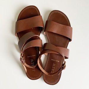 J. Crew Abbie Leather Ankle Wrap Cognac Sandals